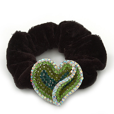 Rhodium Plated Swarovski Crystal Crinkle 'Heart' Pony Tail Black Hair Scrunchie - AB/ Green