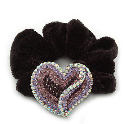 Rhodium Plated Swarovski Crystal Crinkle &#039;Heart&#039; Pony Tail Black Hair Scrunchie - AB/ Purple/ Amethyst