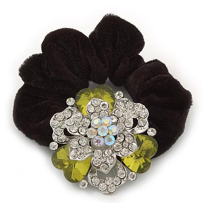 Large Layered Rhodium Plated Swarovski Crystal Rose Flower Pony Tail Black Hair Scrunchie - Olive Green/ Clear/ AB