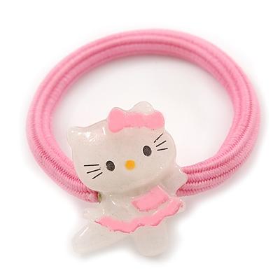 """Kids """"Little Kitty Ballerina"""" Pony Tail Hair Elastic/Bobble"""