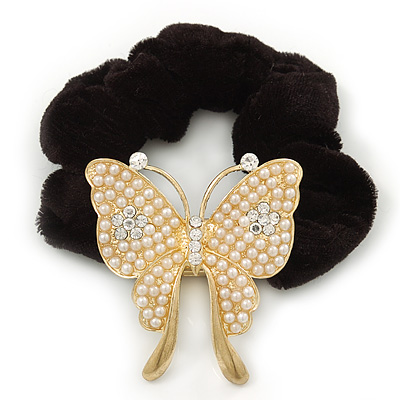 Large Gold Plated Pearl 'Butterfly' Pony Tail Black Hair Scrunchie - White/ Clear