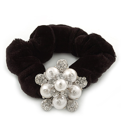 Rhodium Plated Crystal Pearl 'Flower' Pony Tail Black Hair Scrunchie - White/ Clear