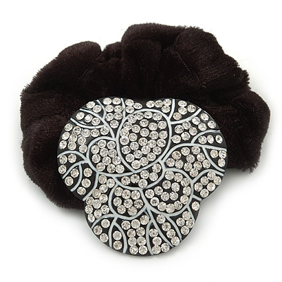 Black Tone Swarovski Crystal 'Trinity' Pony Tail Black Hair Scrunchie - Clear