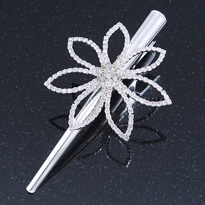Bridal/ Prom/ Wedding Rhodium Plated Clear Crystal Open Flower Hair Beak Clip/ Concord Clip - 12cm Length