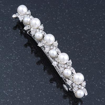 Bridal Wedding Prom Silver Tone Glass Pearl Crystal Barrette Hair Clip Grip - 85mm Width