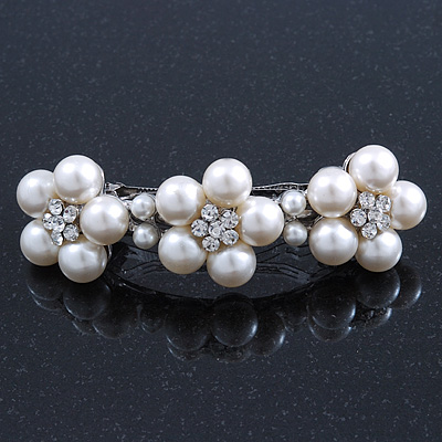 Large Bridal Wedding Prom Silver Tone Crystal Simulated Pearl 'Triple Flower' Barrette Hair Clip Grip - 10cm Across