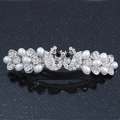 Bridal Wedding Prom Silver Tone Simulated Pearl Crystal 'Love Birds' Barrette Hair Clip Grip - 90mm Width