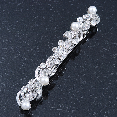 Bridal Wedding Prom Silver Tone Crystal & Simulated Pearl Barrette Hair Clip Grip - 85mm Width