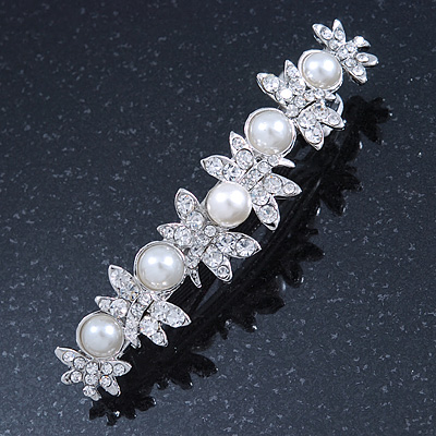 Bridal Wedding Prom Silver Tone Simulated Pearl Diamante 'Butterfly' Barrette Hair Clip Grip - 85mm Across