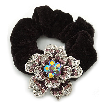 Large Sculptured Rhodium Plated Swarovski Crystal Flower Pony Tail Black Hair Scrunchie - Purple/ Clear