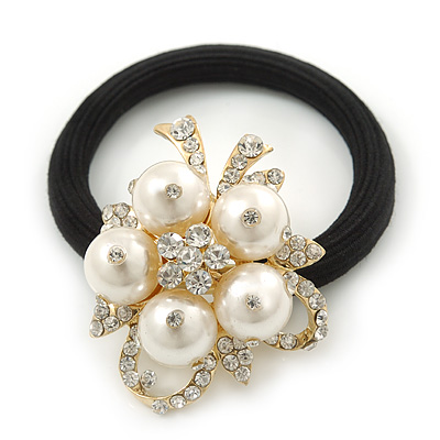 Gold Plated Crystal White Simulated Pearl 'Flower' Pony Tail Black Hair Elastic/Bobble
