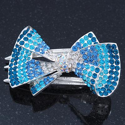Silver Tone Teal/ Light Blue/ Sky Blue/ Clear Crystal Bow Hair Beak Clip/ Concord Clip - 65cm Length