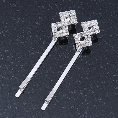 2 Bridal/ Prom Diamante Fancy Hair Grips/ Slides In Rhodium Plating - 55mm Across