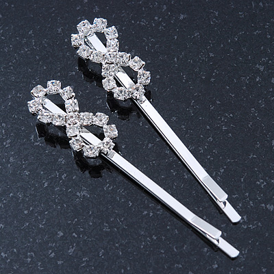 2 Rhodium Plated Clear Crystal 'Infinity' Hair Grips/ Slides - 55mm Across