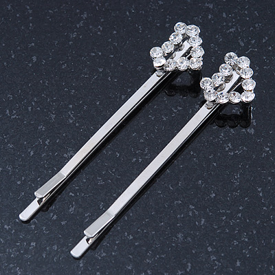 2 Bridal/ Prom Crystal 'Open Heart' Hair Grips/ Slides In Rhodium Plating - 55mm Across