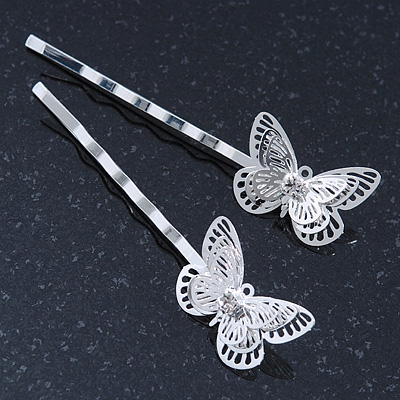 2 Rhodium Plated Diamante Filigree Butterfly Hair Grips/ Slides - 55mm Across