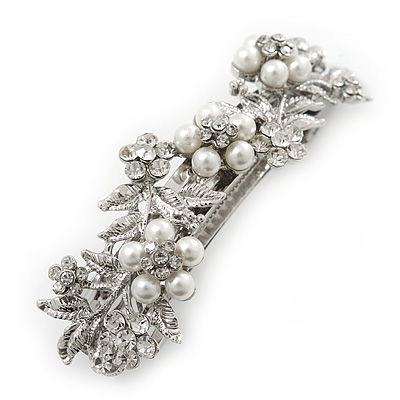 Bridal Wedding Prom Silver Tone Simulated Pearl Diamante Floral Barrette Hair Clip Grip - 80mm Across