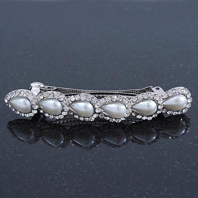 Bridal Wedding Prom Silver Tone Crystal & Teardrop Simulated Pearl Barrette Hair Clip Grip - 85mm Width