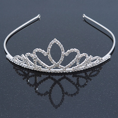 Bridal/ Wedding/ Prom Rhodium Plated Austrian Crystal Double Heart Tiara