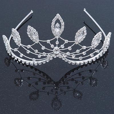 Statement Bridal/ Wedding/ Prom Rhodium Plated Austrian Crystal Leaf Tiara