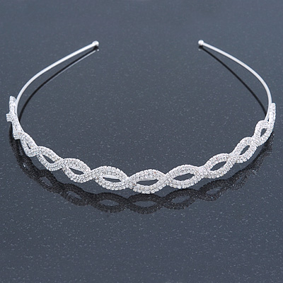 Bridal/ Wedding/ Prom Rhodium Plated Clear Crystal Intertwined Tiara Headband