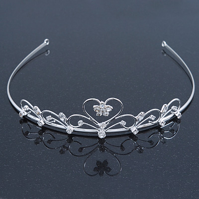 Bridal/ Wedding/ Prom Rhodium Plated Austrian Crystal Open Heart Tiara