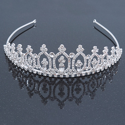 Statement Bridal/ Wedding/ Prom Rhodium Plated Austrian Crystal Tiara