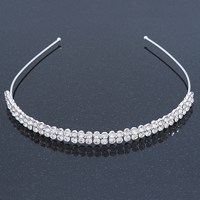 Bridal/ Wedding/ Prom Rhodium Plated Clear Crystal 2 Row Tiara Headband