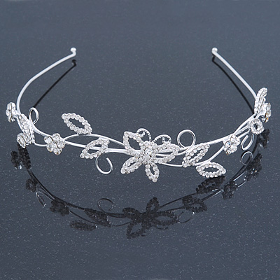 Bridal/ Wedding/ Prom Rhodium Plated Crystal Butterfly, Flowers & Leaves Tiara Headband