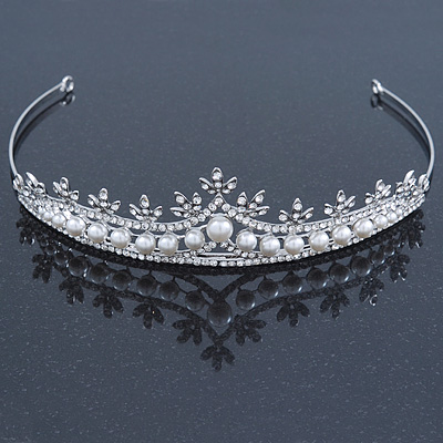 Bridal/ Wedding/ Prom Rhodium Plated Clear Crystal, White Simulated Glass Pearl Tiara Headband