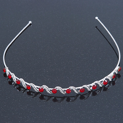 Bridal/ Wedding/ Prom Rhodium Plated Red/ Clear Crystal Tiara Headband