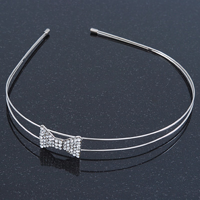 Bridal/ Wedding/ Prom Rhodium Plated Clear Crystal Bow Tiara Headband