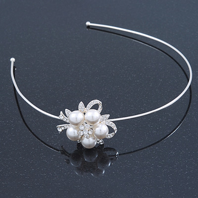 Bridal/ Wedding/ Prom Rhodium Plated White Faux Pearl, Crystal Flower Tiara Headband