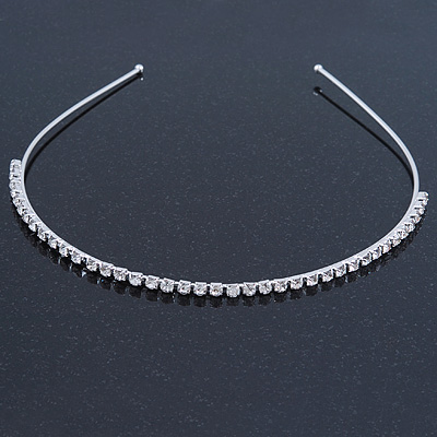 Bridal/ Wedding/ Prom Rhodium Plated Clear Crystal Single Row Tiara Headband