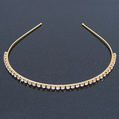 Bridal/ Wedding/ Prom Gold Plated Clear Crystal Single Row Tiara Headband