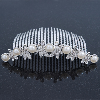 Bridal/ Wedding/ Prom/ Party Rhodium Plated Austrian Crystal Butterfly & Simulated Pearl Hair Comb/ Tiara - 10cm - main view
