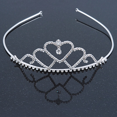 Statement Bridal/ Wedding/ Prom Rhodium Plated Austrian Crystal Triple Heart Tiara