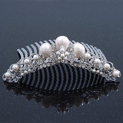 Bridal/ Wedding/ Prom/ Party Rhodium Plated Austrian Crystal & Simulated Glass Pearl Hair Comb Tiara - 10.5cm