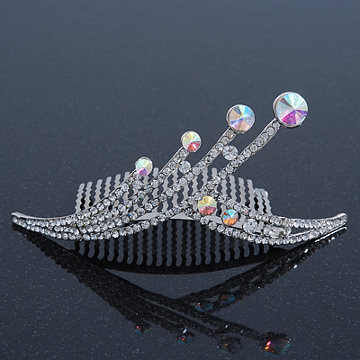 Bridal/ Wedding/ Prom/ Party Rhodium Plated 'Shooting Star' Swarovski Crystal Hair Comb Tiara - 11cm - main view