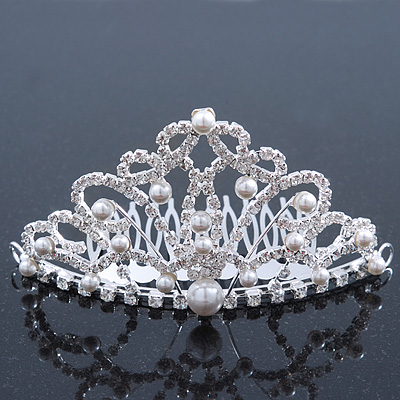 Bridal/ Wedding/ Prom/ Party Rhodium Plated Swarovski Crystal, Simulated Pearl Hair Comb/ Tiara - 10.5cm