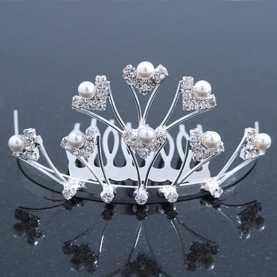 Bridal/ Wedding/ Prom/ Party Rhodium Plated White Simulated Pearl Bead and Swarovski Crystal Mini Hair Comb Tiara - 75mm