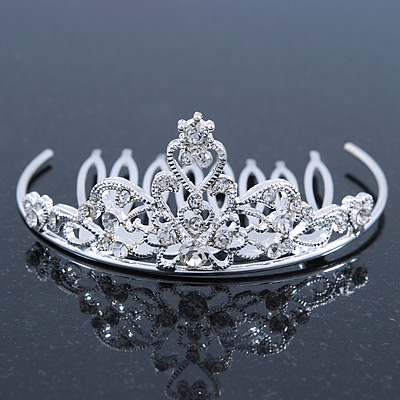 Princess Style Bridal/ Wedding/ Prom/ Party Rhodium Plated Swarovski Crystal Mini Hair Comb Tiara - 60mm
