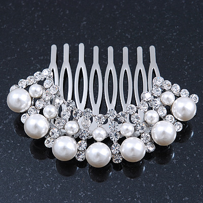 Bridal/ Wedding/ Prom/ Party Dome Shaped Rhodium Plated White Simulated Pearl Bead and Swarovski Crystal Hair Comb - 65mm