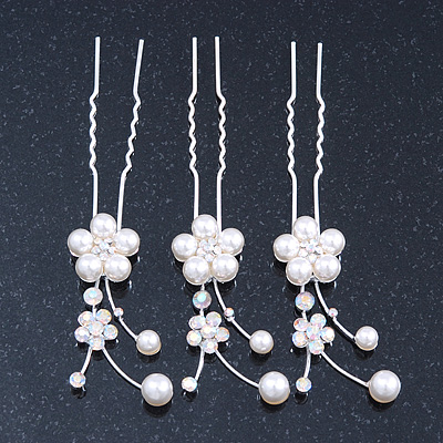 Bridal/ Wedding/ Prom/ Party Set Of 3 Rhodium Plated Simulated Pearl, Crystal Flower Hair Pins - main view