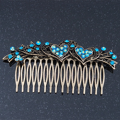 Vintage Bronze Tone Teal Blue/AB Swarovski Crystal 'Hearts' Side Hair Comb - 110mm