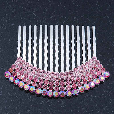 Rhodium Plated Pink/AB Gradient Swarovski Crystal Hair Comb - 60mm