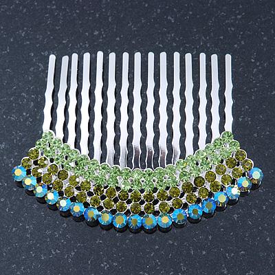 Rhodium Plated Green/AB Gradient Swarovski Crystal Hair Comb - 60mm