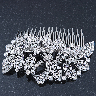 Statement Bridal/ Wedding/ Prom/ Party Rhodium Plated Clear Swarovski Sculptured Bow&Leaf Crystal Side Hair Comb - 11.5cm Width - main view
