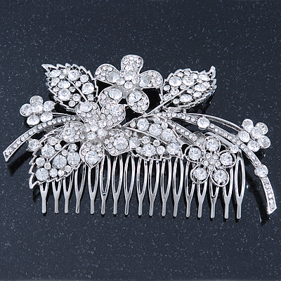 Statement Bridal/ Wedding/ Prom/ Party Rhodium Plated Clear Swarovski Sculptured Floral Crystal Side Hair Comb - 12cm Width
