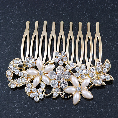 Bridal/ Wedding/ Prom/ Party Gold Plated Clear Crystal and Ivory Pearl Floral Hair Comb - 50mm